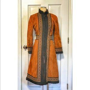 VTG Afghan Coat Lambskin Suede Faux Curly Lamb MED